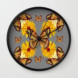 GREY ART BUTTERFLIES & YELLOW SUNFLOWERS NATURE Wall Clock
