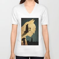 bat man V-neck T-shirts featuring BAT MAN  by Edmond Lim