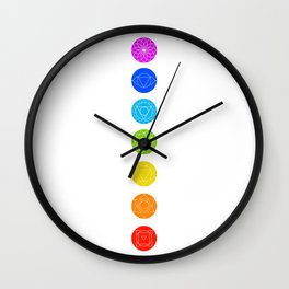 Chakra symbols with respective colors- Spiritual gifts Wall Clock