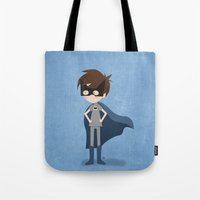 superhero Tote Bags featuring Superhero by made by kale
