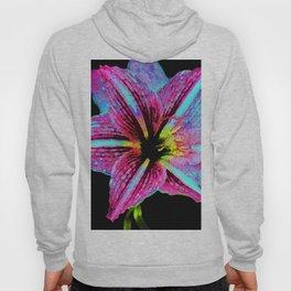 Pink Striped Lily Flower - Batik Style Hoody