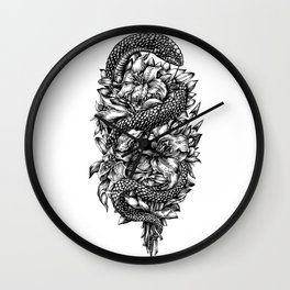 Snake with lilies and arrows (tattoo style) Wall Clock