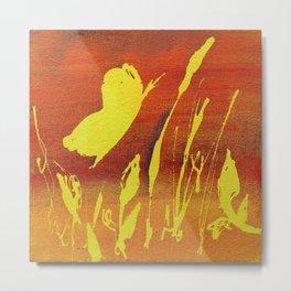 Bright Yellow Butterfly in Fiery Orange Sky Metal Print