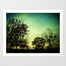 Orange Green Blue Sky Art Print