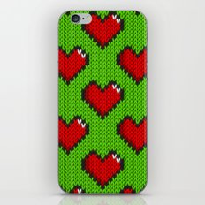 Knitted heart pattern - green iPhone & iPod Skin