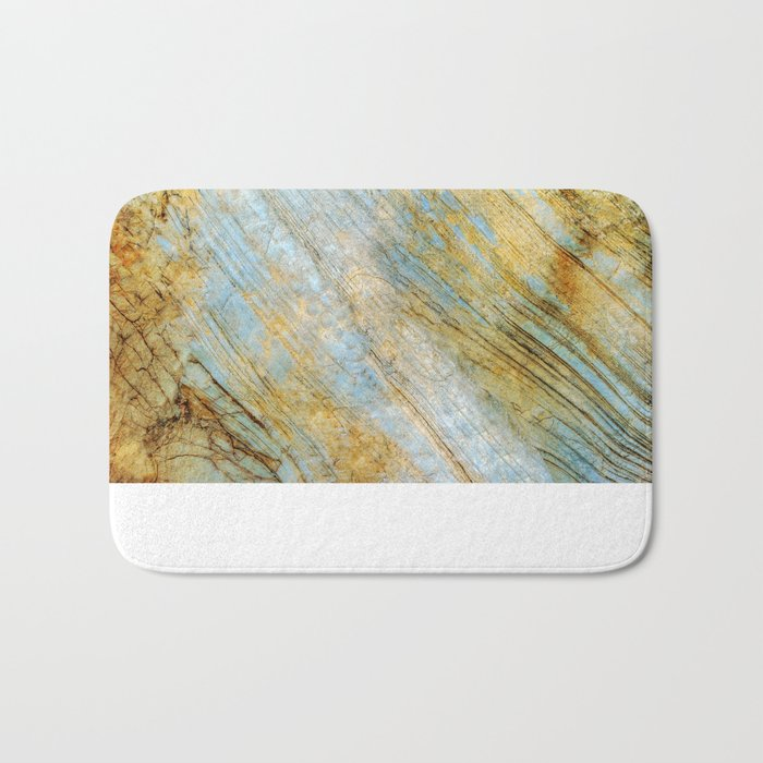 Blue and Gold Marble Bath Mat