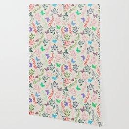 Watercolor flowers & butterflies Wallpaper