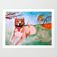 pit bull Art Prints featuring Pit Bull by Caballos of Colour