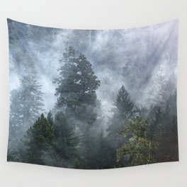 Smoky Redwood Forest Foggy Woods - Nature Photography Wall Tapestry