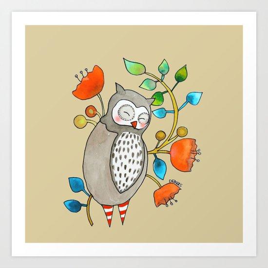 eli the owl Art Print