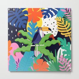 Bold Tropical Jungle Abstraction With Toucan Memphis Style Metal Print