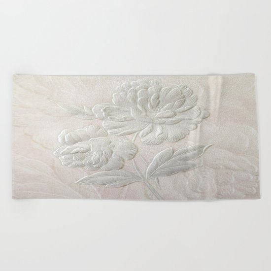 Embossed Painterly White Floral Abstract Beach Towel