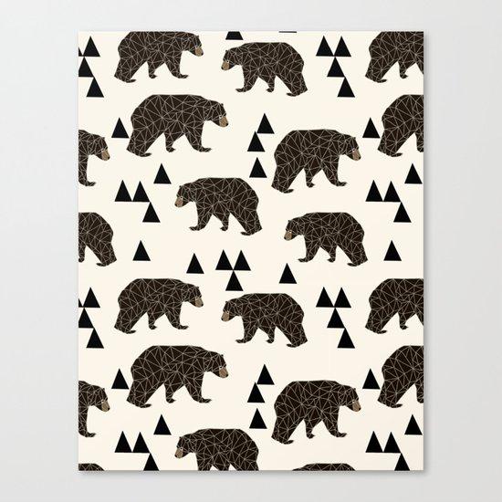Geo Bear by Andrea Lauren Canvas Print