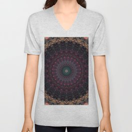 Mandala in dark red and brown tones Unisex V-Neck