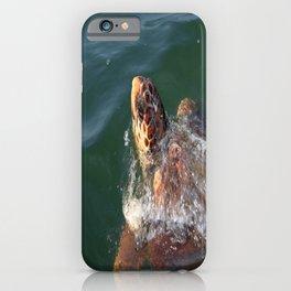 Loggerhead Turtle (Caretta Caretta) Breaking The Sea Surface iPhone Case