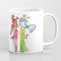 lesbian Mugs featuring lesbian flower women kiss by Nehalennia