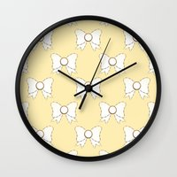bow Wall Clocks featuring Bow by Little Owl Oddities