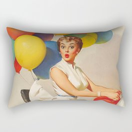 Vintage Pin Up Girl and Colorful Balloons Rectangular Pillow