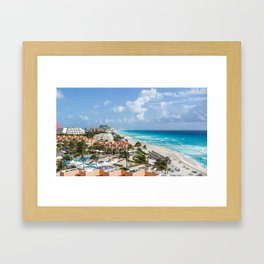 Cancun city on beachside Framed Art Print