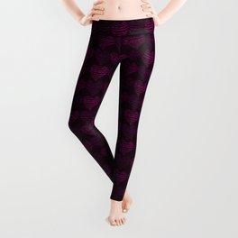 Squiggly Heart Pattern Purple Pink Leggings