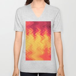 The volcano, abstract eruption and fire flames in hot colors Unisex V-Neck