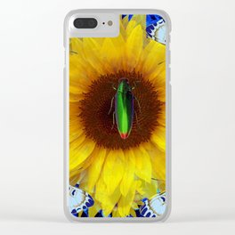 EMERALD GOLD BUG ON SUNFLOWER BUTTERFLY Clear iPhone Case