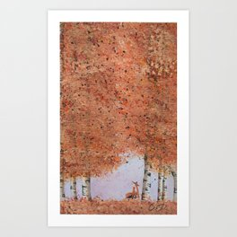 Autumn Birch Fox Art Print