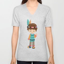 Cute Boy, Native American Boy, Brown Hair Unisex V-Neck