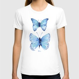 Two Blue Butterflies Watercolor T-shirt