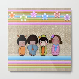 4 kokeshi dolls Metal Print