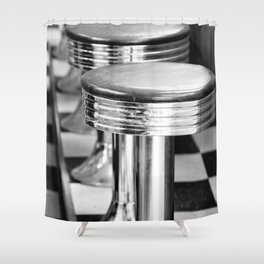 VINTAGE DINER BAR STOOLS - BYGONE ERA - MID CENTURY CHIC Shower Curtain