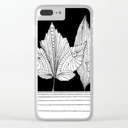 Leaves under black sky Clear iPhone Case