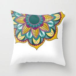 Mandala Series - Sunflower Throw Pillow