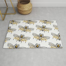 Death's Head Hawkmoth – Yellow & Black Palette Rug