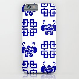 Butterfly Lattice Quilt Blue and White iPhone Case