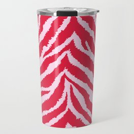 Red zebra fur texture Travel Mug