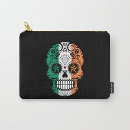 Sugar Skull with Roses and Flag of Ireland Carry-All Pouch