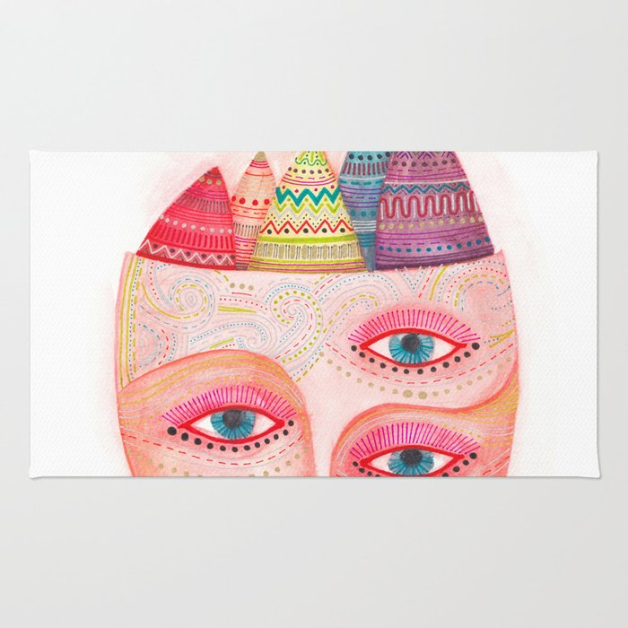 girl with the most beautiful eyes mask portrait Rug