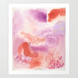 Herb Song in Lavender with Mugwort Contemporary Abstract Watercolor Painting Art Print