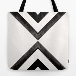 Converging Triangles Black and White Moroccan Tile Pattern Tote Bag