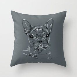 Sketchy Frenchie Throw Pillow