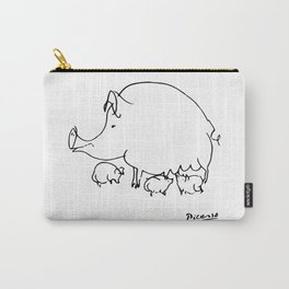 Pablo Picasso Pig Drawing, Lines Sketch, Animals Artowork, Men, Women, Kids, Tshirts, Posters, Print Carry-All Pouch