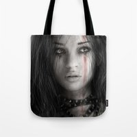 warrior Tote Bags featuring Warrior by Justin Gedak