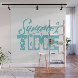 Summer TIME at the Pool Teal Wall Mural