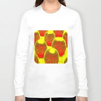 cacti Long Sleeve T-shirts featuring Orange Cacti  by Ethna Gillespie
