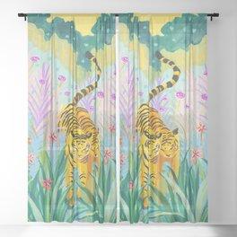 Tigers in Garden Sheer Curtain