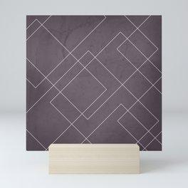 Overlapping Diamond Lines on Aubergine  Mini Art Print