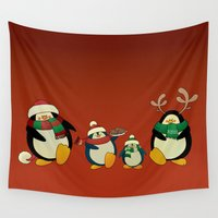 cartoons Wall Tapestries featuring Penguin family  by mangulica