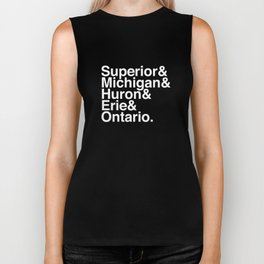 Helvetica Great Lakes Reversed Biker Tank