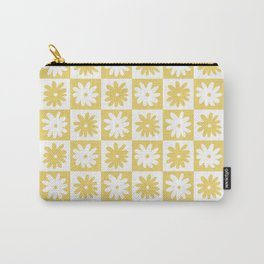 Yellow And White Checkered Flower Pattern Carry-All Pouch